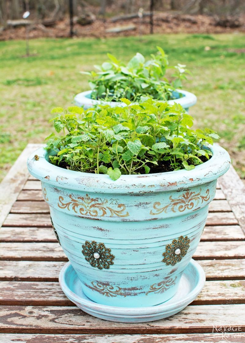 Planters Refinishing Old Flower Pots DIY