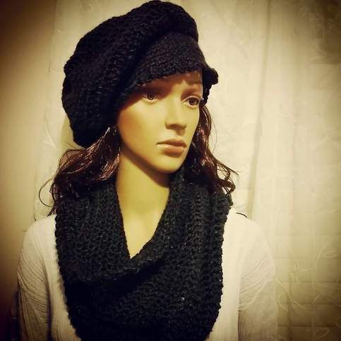 Black Slouchy Hat and Neck Warmer. Women's size. Gentle Wash and Low Dry. 100% Acrylic.
