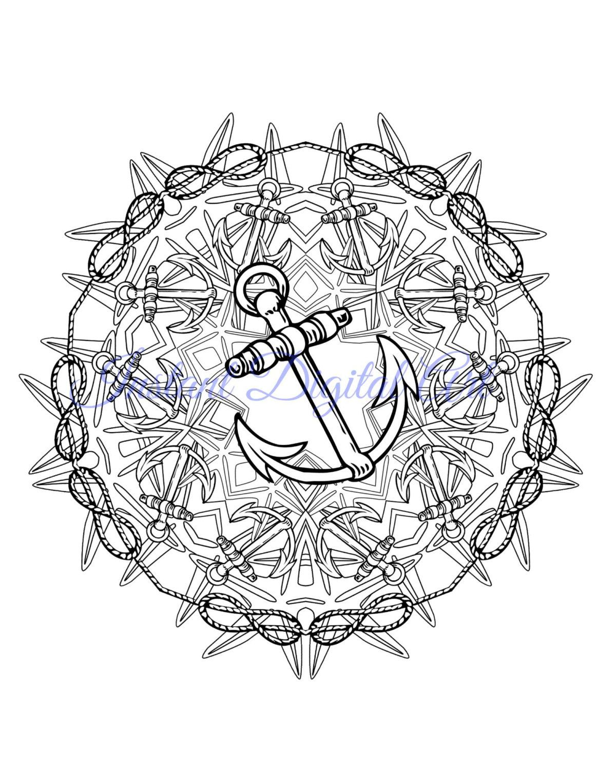 Mandala Coloring Pages Mehndi Henna Black And White Printable Nautical Anchor Ocean Instant Dig Dinosaur Coloring Pages Mandala Coloring Pages Coloring Pages