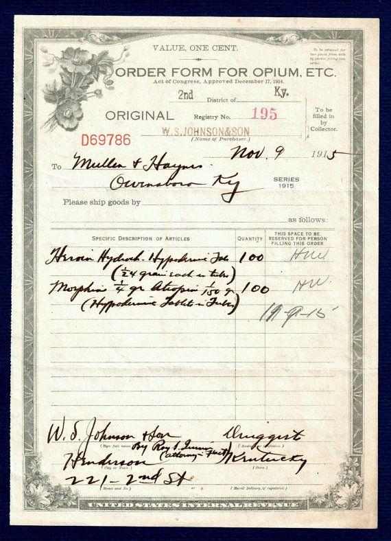 Original Heroin Opium Antique 1915 Pharmacist's Federal Medicine Order Form Johnson Pharmacy Mullen Haynes History Channel Henderson KY DEA