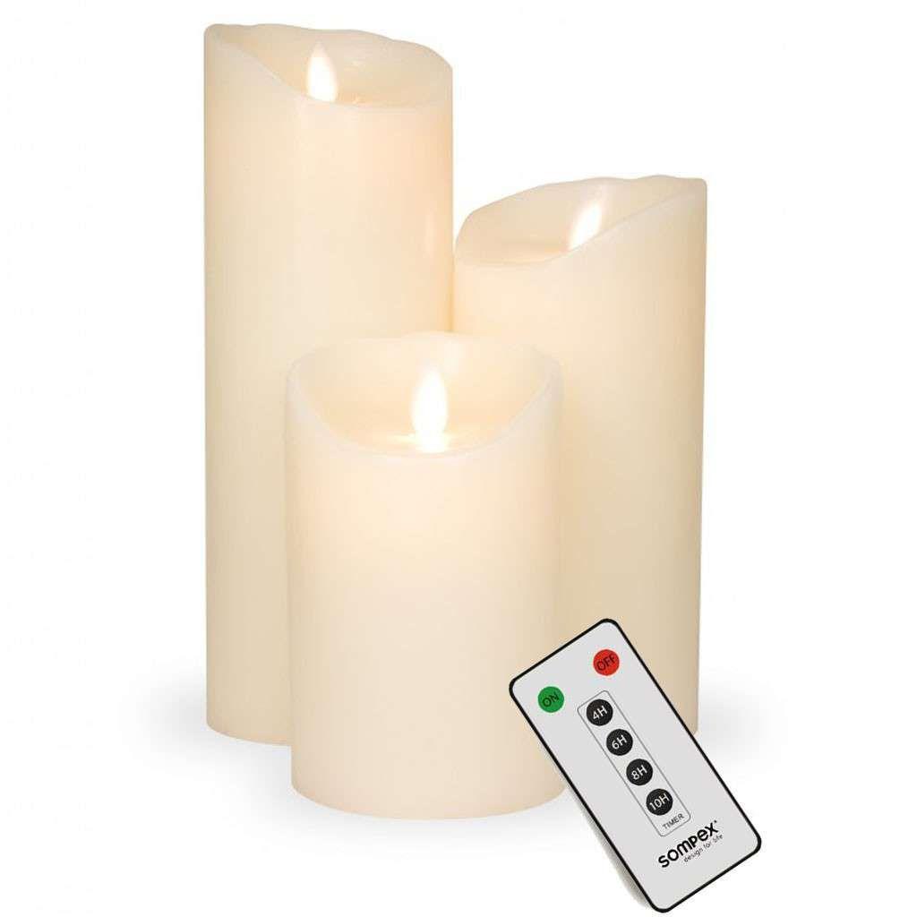 3er Set Sompex Flame Led Kerzen Fernbedienbar V14 Elfenbein 12