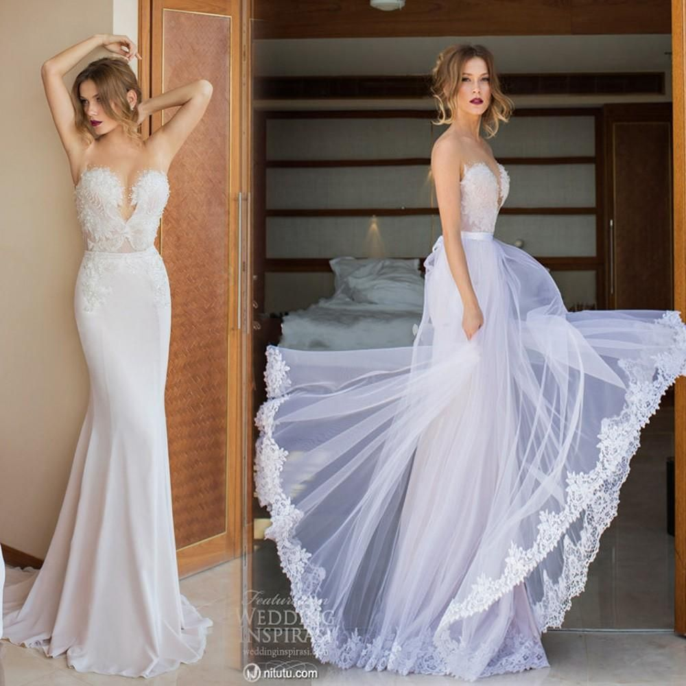 2015 custom made julie vino mermaid lace and chiffon for Wedding dress removable skirt