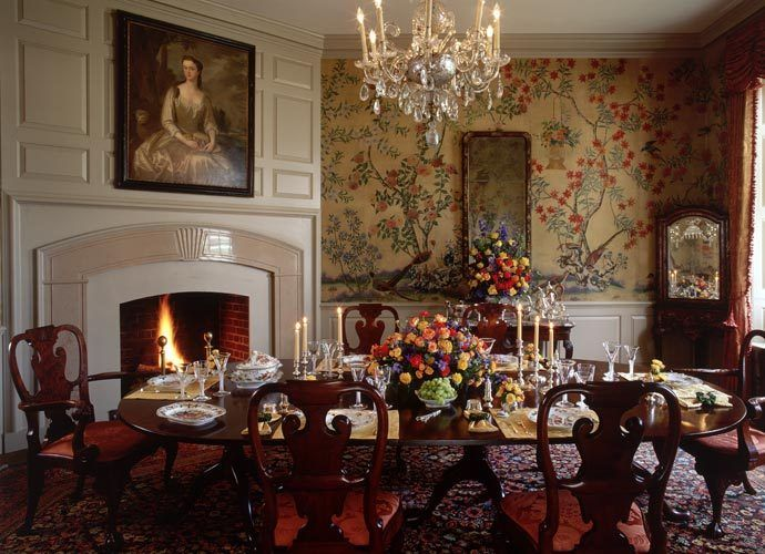 Historic colonial interiors bing images dining room for Homes with beautiful dining rooms