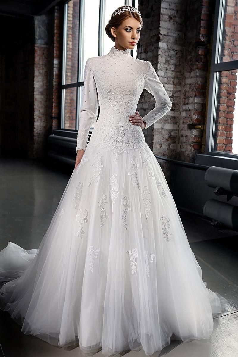 High Neck Vintage Lace Muslim Wedding Dresses A Line Long Sleeves Modest Dubai Bridal Dress Gowns Beads Appliques Tulle Train Cheap 2021 From Lilliantan 169 4 High Neck Long Sleeve Wedding Dress [ 1200 x 800 Pixel ]