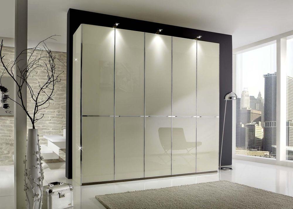Kleiderschrank SHANGHAI B 250 H 216 cm 3x LED Drehtüren Schrank - schr nke f r schlafzimmer