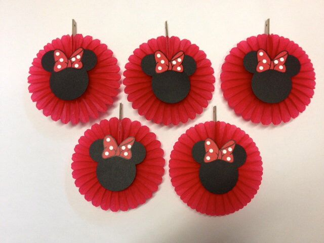 Minnie Mouse Birthday Decorations 5 Mini Tissue Fans Baby shower