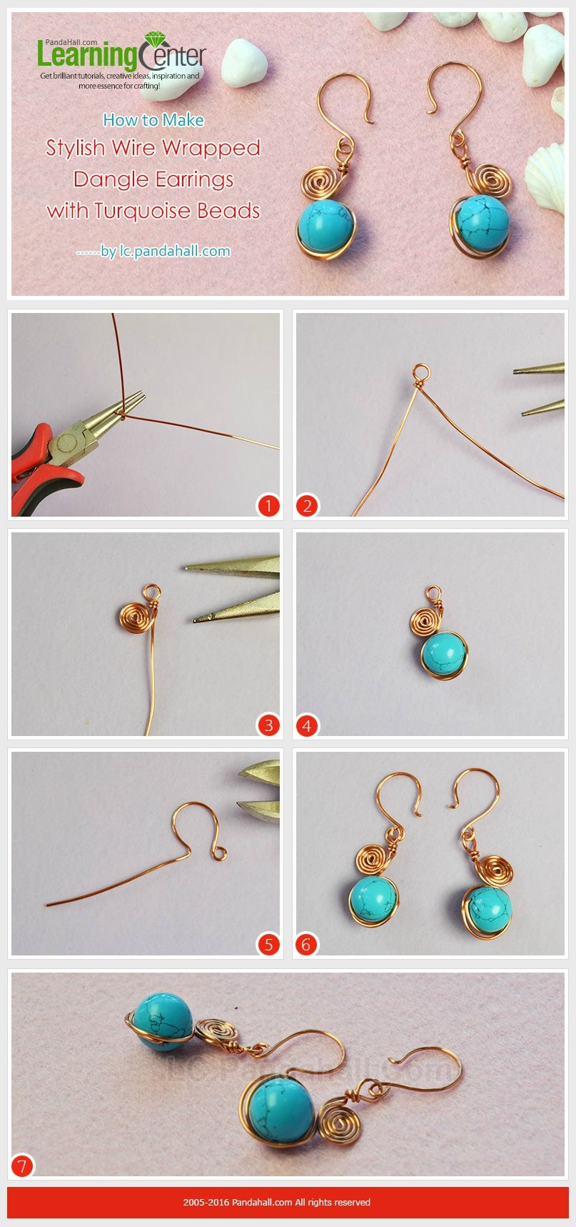 How-to-Make-Stylish-Wire-Wrapped-Dangle-Earrings-with-Turquoise ...