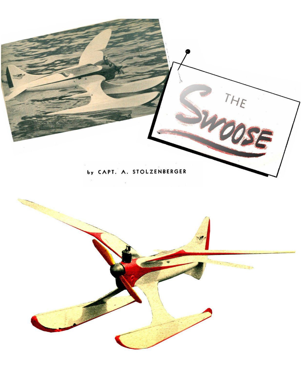 Vintage 1946 freeflight model airplane plans swoose full