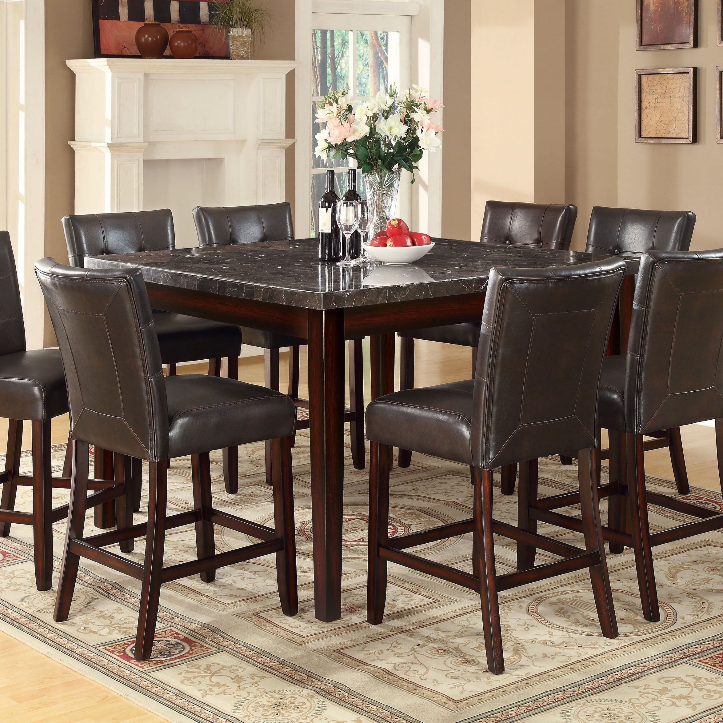 Coaster Company Milton Cappuccino Marbletop Dining Table Best Comfortable Dining Room Sets Design Decoration