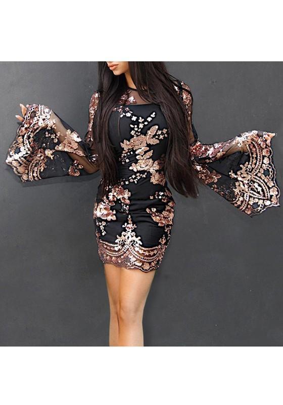 c5cdb3d8e54 DaysCloth Black Patchwork Grenadine Sequin Flare Sleeve Round Neck Party  Mini Dress