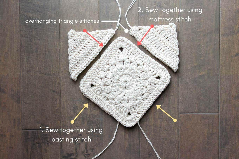 Cómo coser una bolsa o bolso de ganchillo juntos. patrón urbano ...