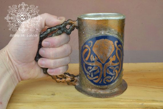 tankard steampunk mug stein octopus crest iron copper industrial diesel punk ironwork