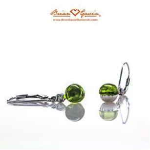 Round cab #peridot leverback earrings on Brian Gavin Diamonds blog