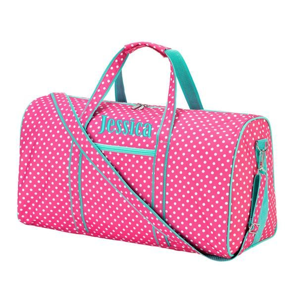 Personalized Pink Polka Dot Duffel Bag Large Barrel Kids Travel Tote Perfect Including Monogrammed Name Or