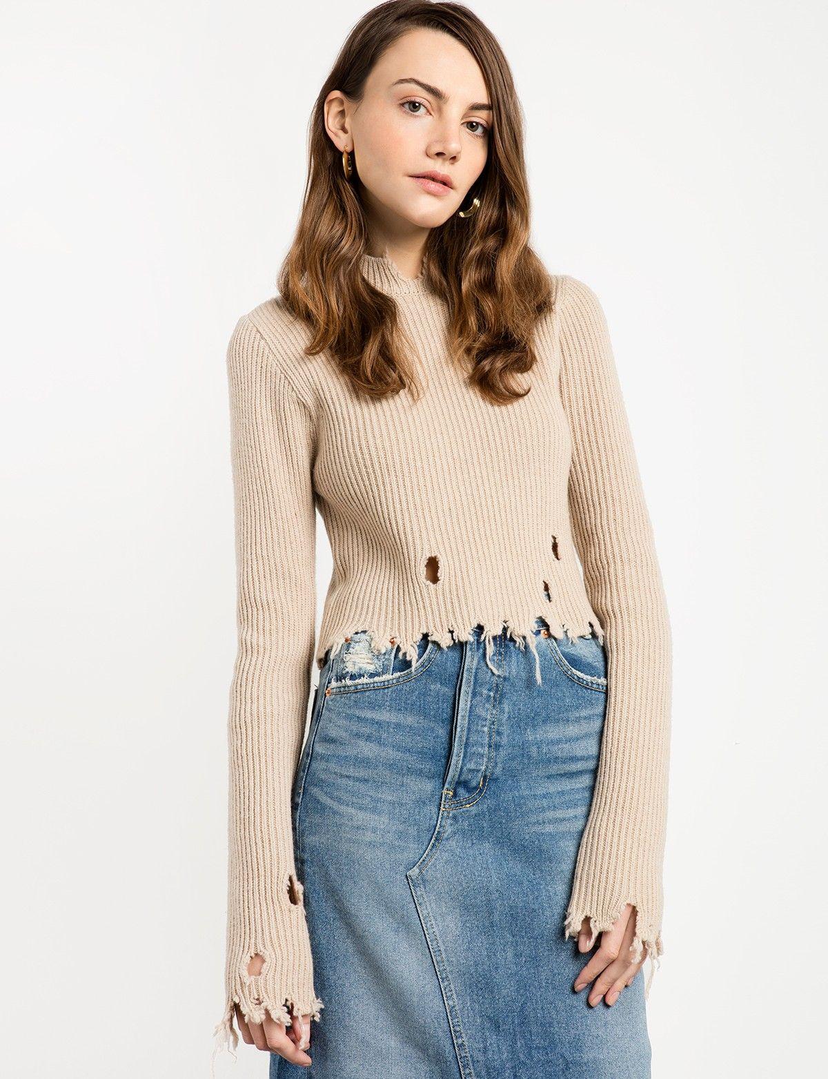 Torn Crop Sweater  9c600b79f
