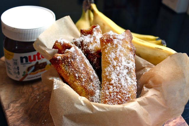 nutella and banana egg rolls - yummy!  Last week I made strawberry and cream cheese egg rolls! They were delicious!!!