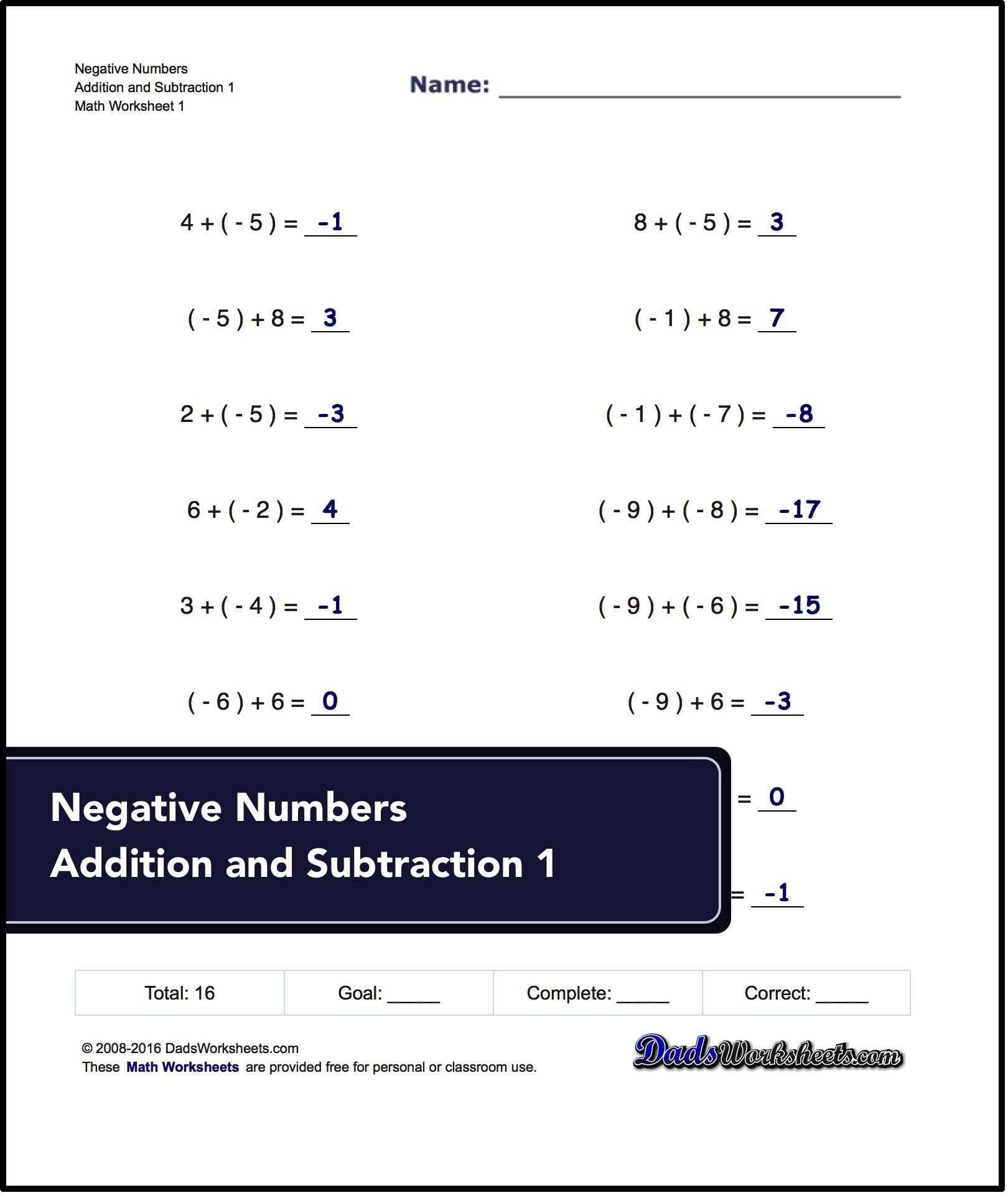 Worksheets With Simple Problems That Introduce Negative