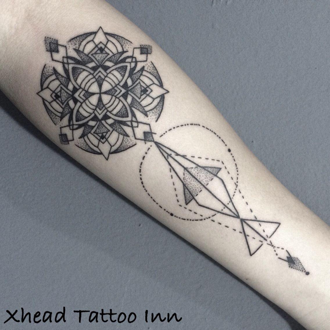 Nepalese Tattoo Inn Home: Geometric Original Design Dots And Lines Xhead Tattoo