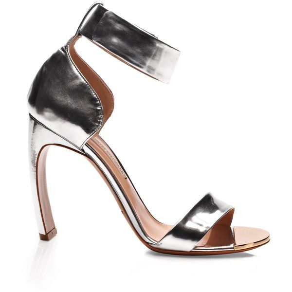 Nicholas Kirkwood Silver Bow Heel Sandal ($735) ❤ liked on Polyvore featuring shoes, sandals, ankle wrap sandals, ankle strap sandals, ankle strap shoes, silver sandals and high heel shoes
