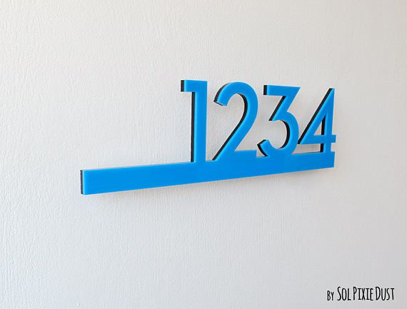Modern House Numbers Blue with Black Acrylic Contemporary