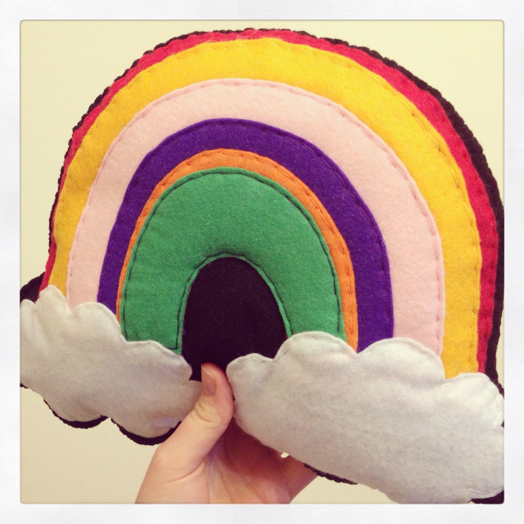 Rainbow over clouds plush cushion www.kidish.co.uk