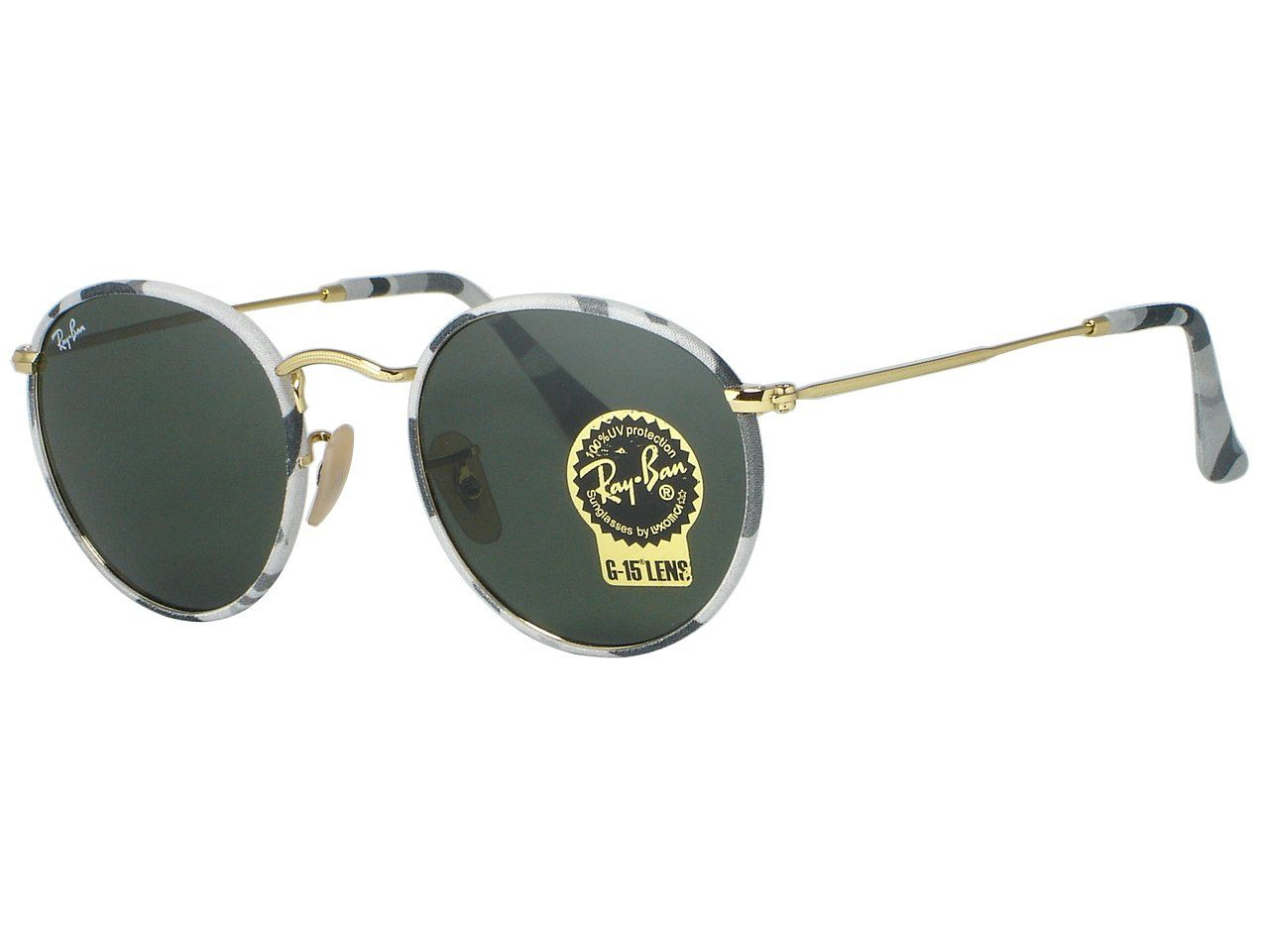 ray ban original check  Ray Ban RB3447JM Round Metal 171 Camouflage Gray/White Sunglasses ...
