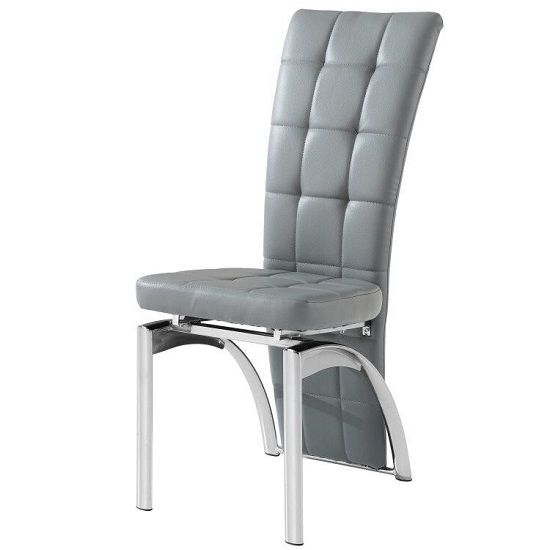Ravenna Dining Chair In Grey Faux Leather With Chrome Base