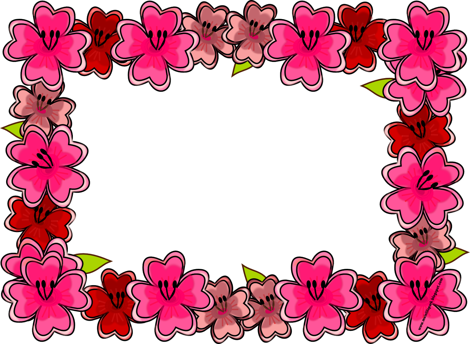 Free digital bright flower frame png and journaling cards ...