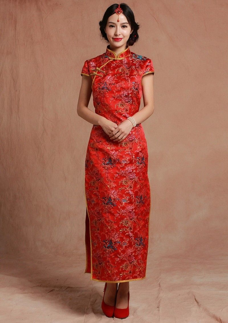Red Brocade Mandarin Collar Cap Sleeve Qipao Chinese Wedding Dress ...