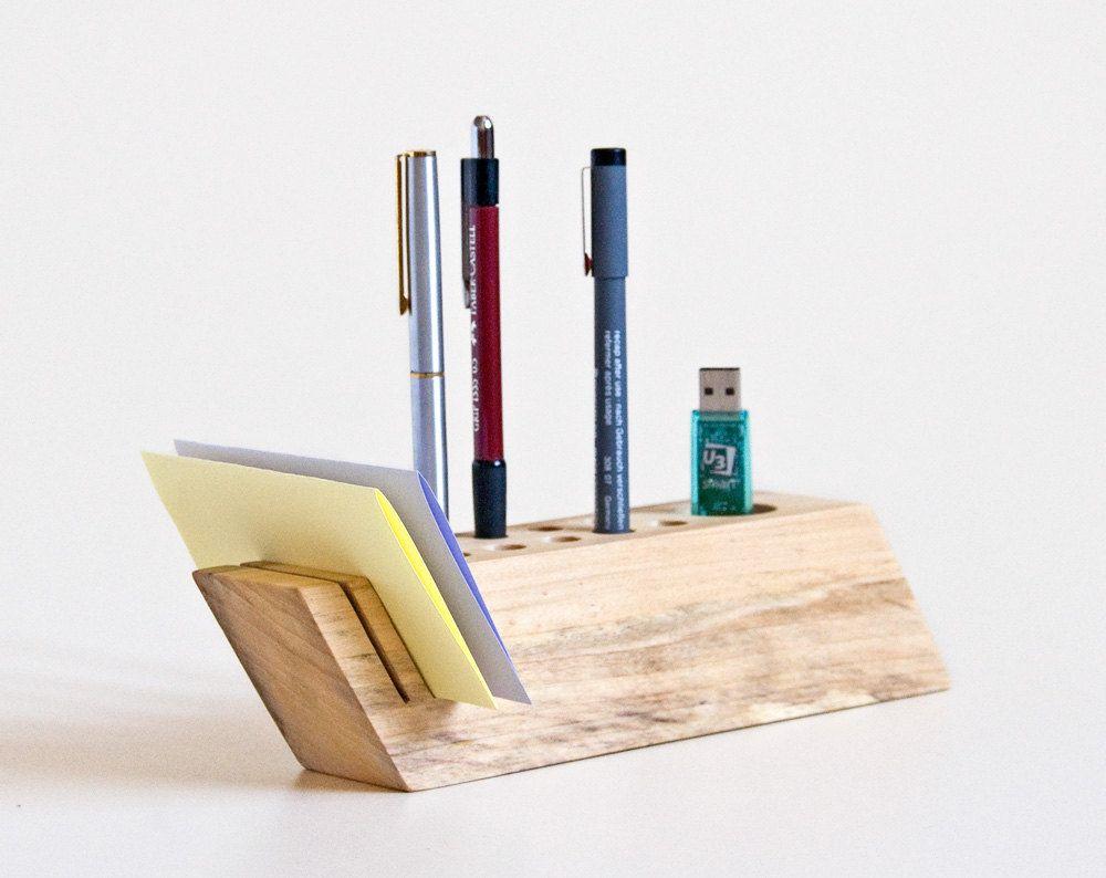 Desk Organizer Salvaged Wood Pen Holder Modern Office Organisation