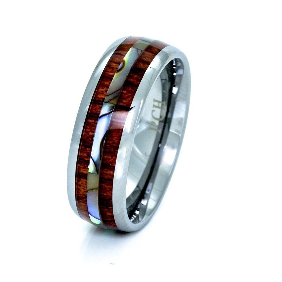 Tungsten hawaiian koa wood and abalone ring mm comfort fit band