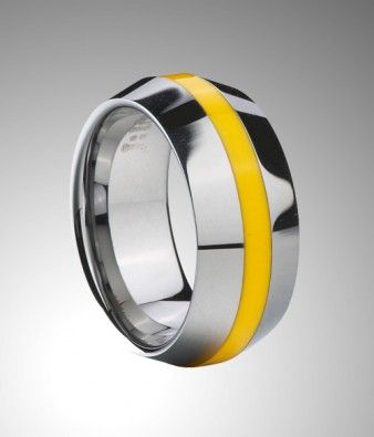 New Handsome Tungsten Carbide Band with Knife Edge Design, Yellow Resin Inlay, High Polished Finish.