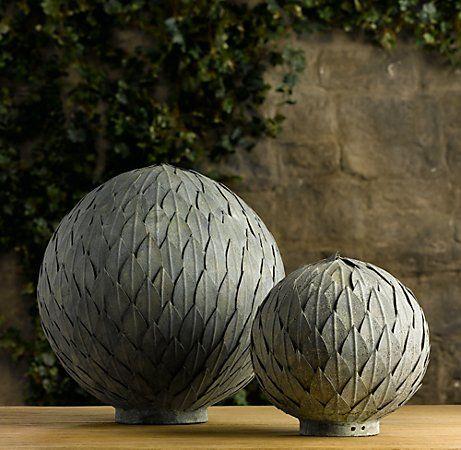 Garden Balls Decorative Restoration Hardware Zinc Leaf Spheres  Belgian Beige Garden