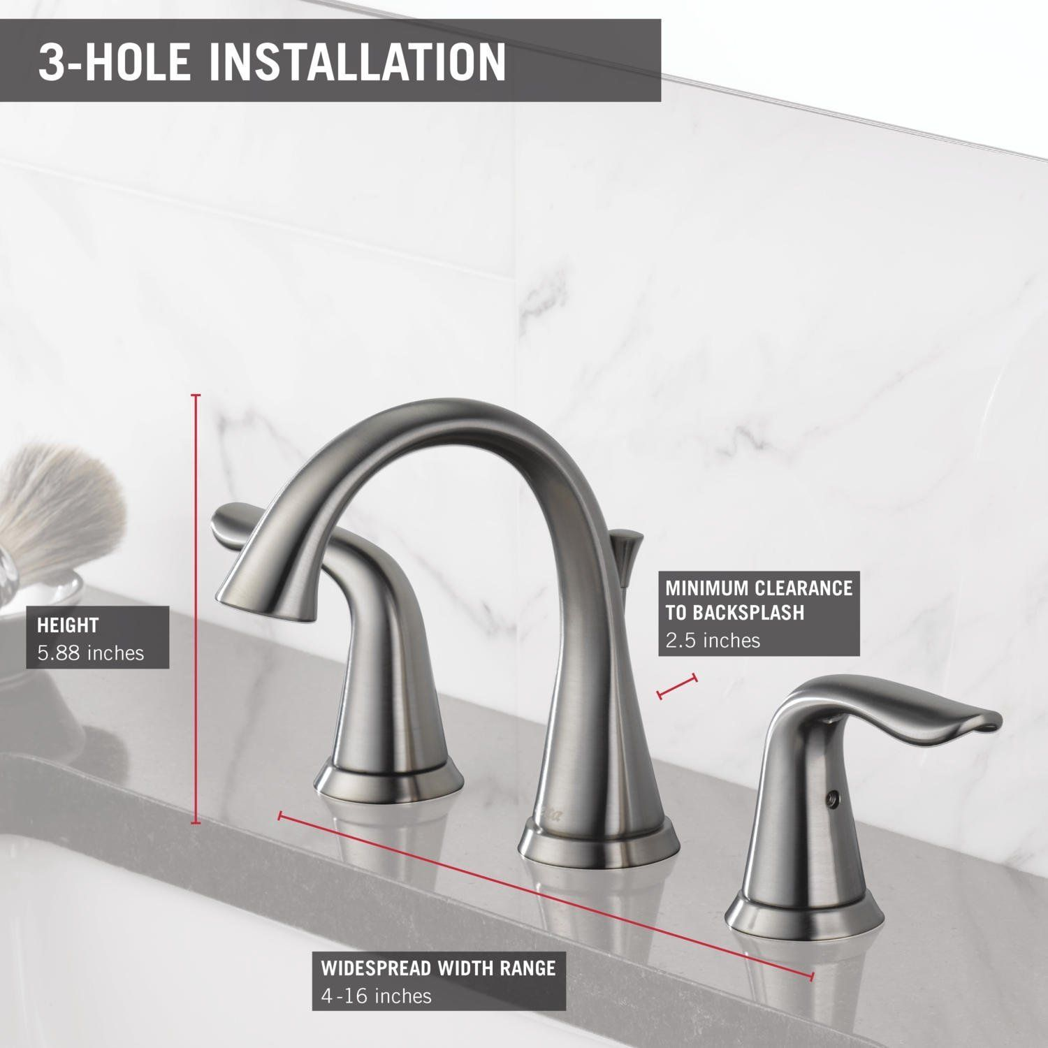 Delta 3538 Ssmpu Dst Lahara Two Handle Widespread Lavatory Faucet