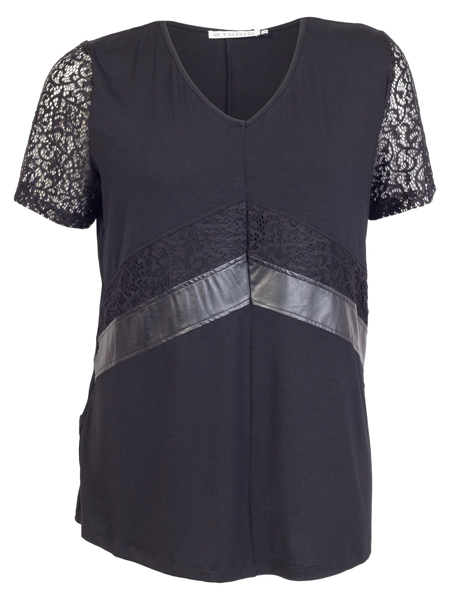 Super cool Sort bluse med blonder og imiteret skind Studio Modetøj til Damer i behagelige materialer