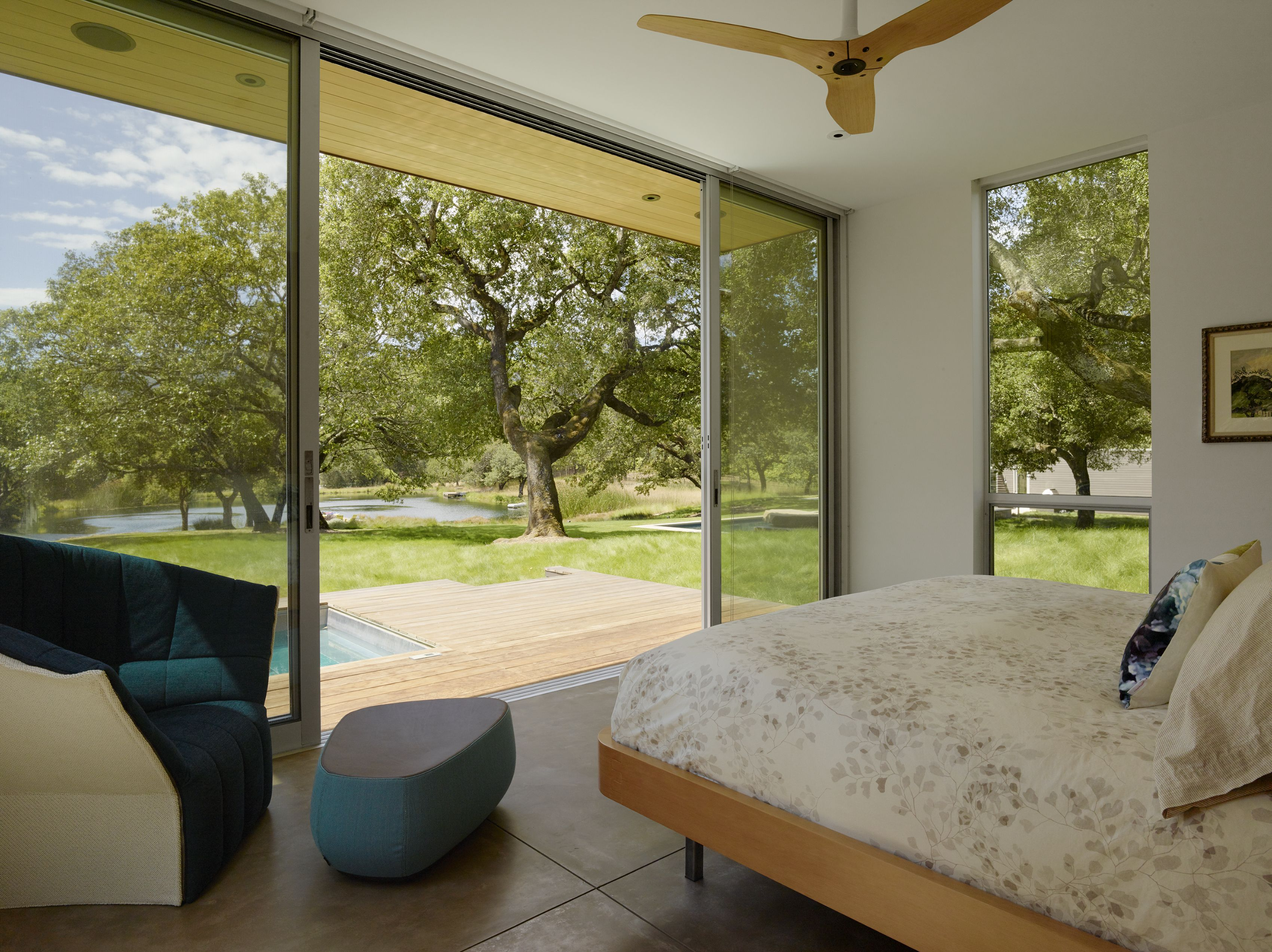 Master Bedroom With Large Sliding Doors Opening To Private Spa Deck And Views Sonoma Residence Turnbull Indoor Outdoor Living Architect Design House Design