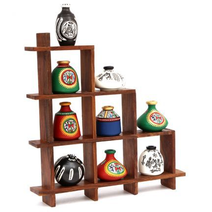 Rising Wooden Wall Shelf With 9 Assorted hand painted Pots