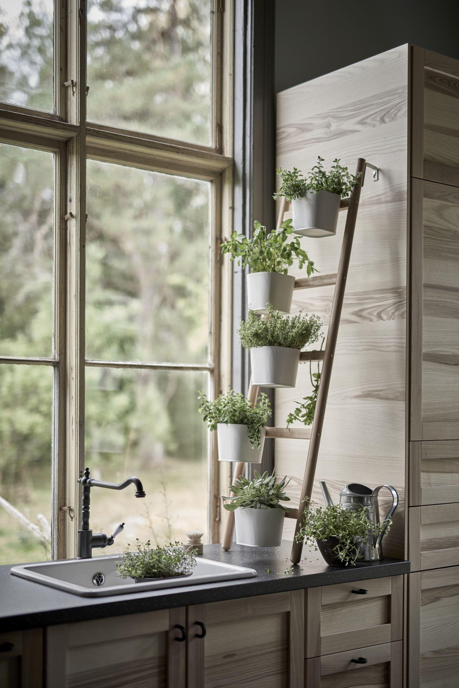 SATSUMAS Plant stand with 5 plant pots, bamboo, white | Diy küche ...