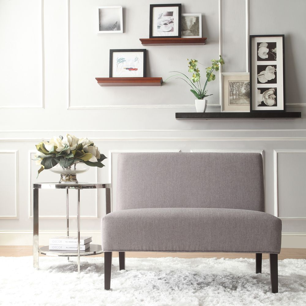 Easton Gray Linen 2-seater Accent Loveseat | Overstock.com Shopping ...