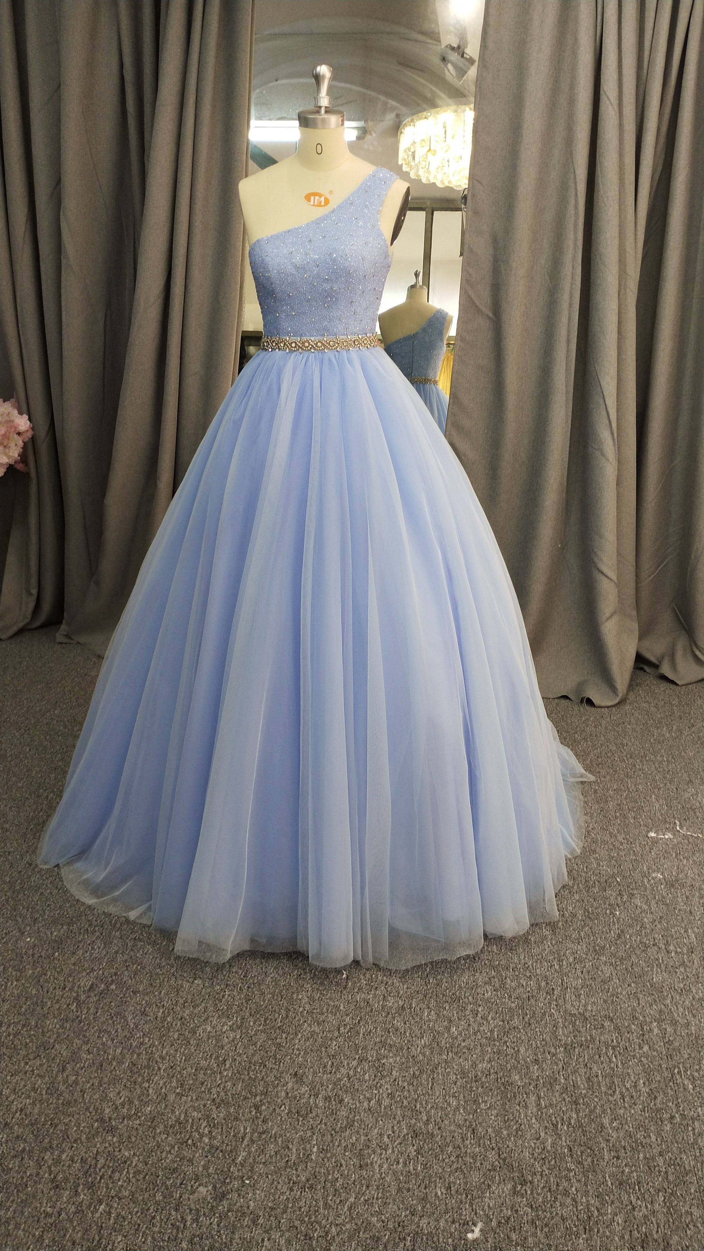 One Shoulder Blue Formal Evening Gown In 2021 Prom Dresses Ball Gown Formal Ball Gown Pastel Prom Dress [ 4032 x 2268 Pixel ]
