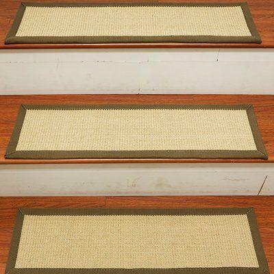 Best Gracie Oaks Degory Sisal Carpet Ivory Green Stair Tread 400 x 300