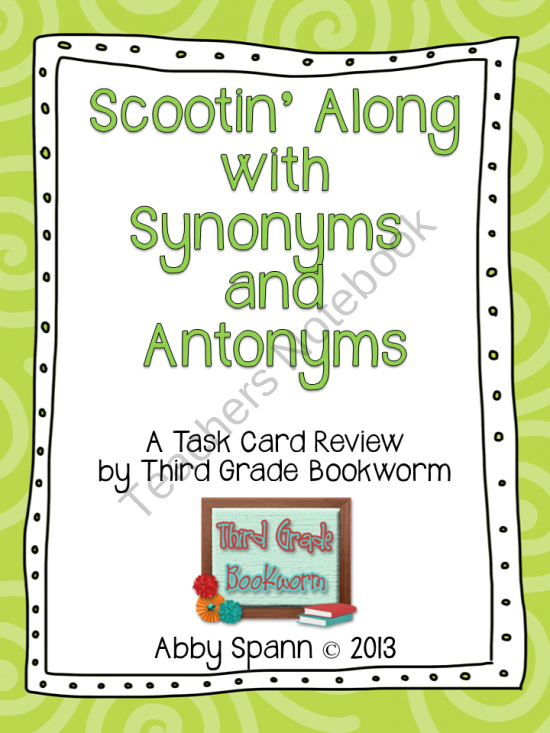 Scootin Along With Synonyms And Antonyms 36 Synonym And Antonym Task