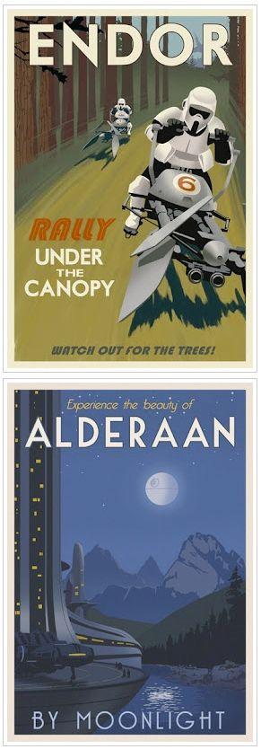 Endor and Alderaan travel posters by Steve Thomas