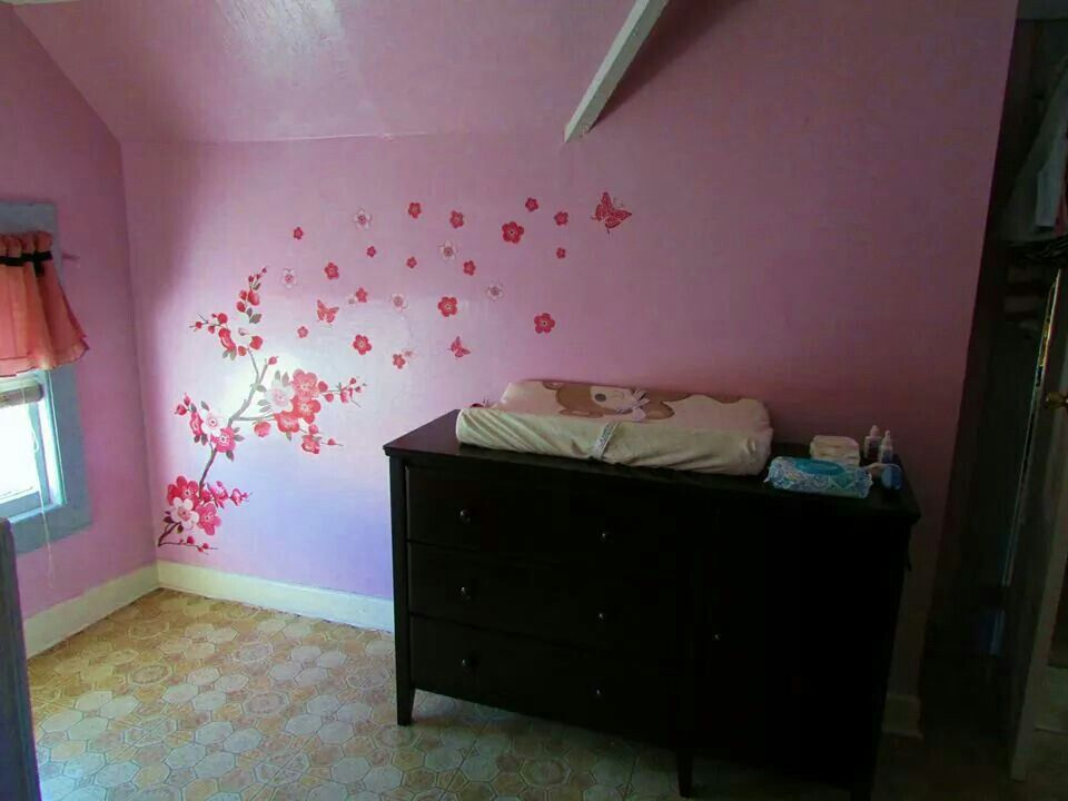 Cherry Blossom Wall Decal Pinkwhitegrey Nursery Dark Wood This - Instructions on how to put up a wall sticker