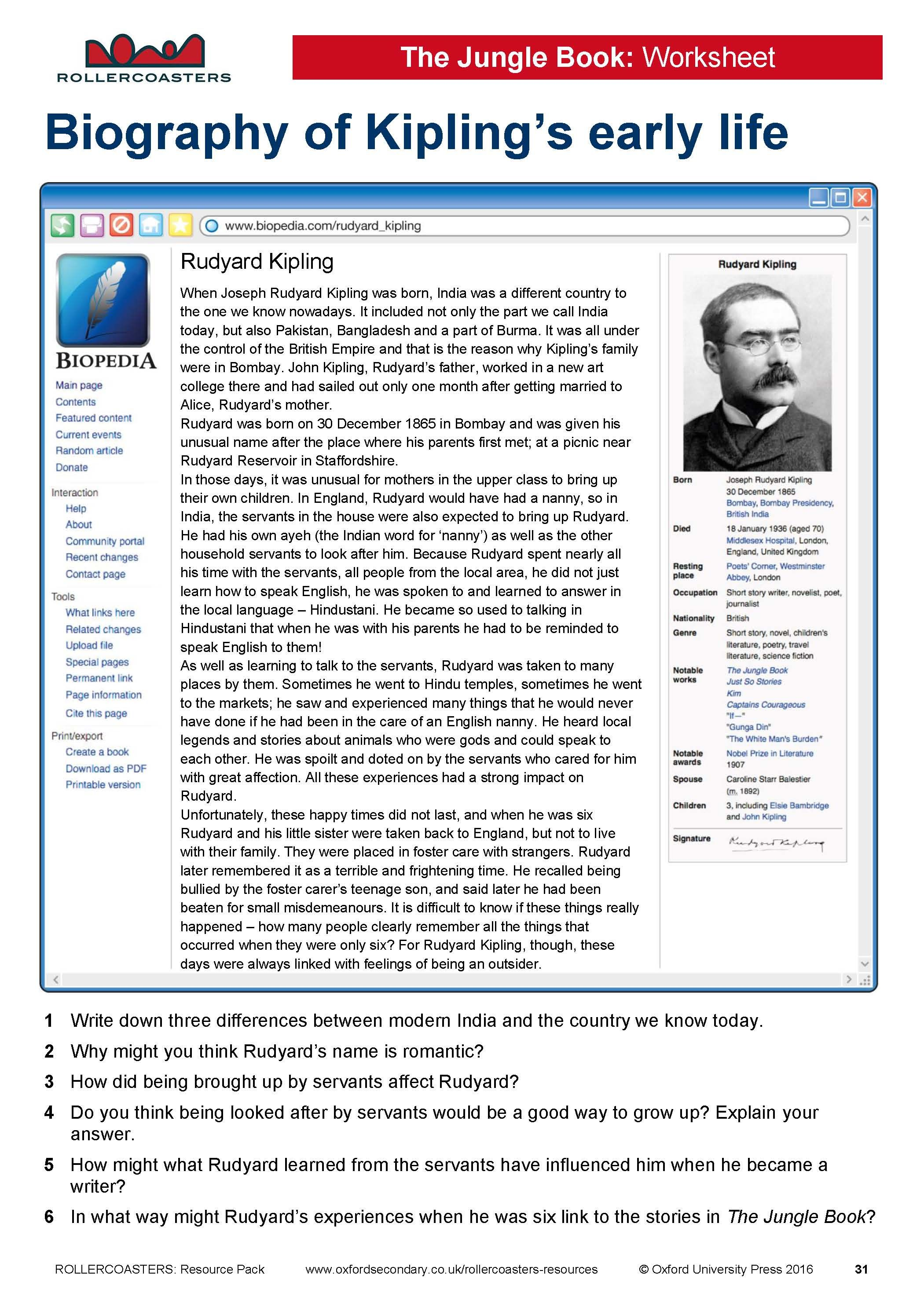 000 Introduce your students to Rudyard Kipling with this free