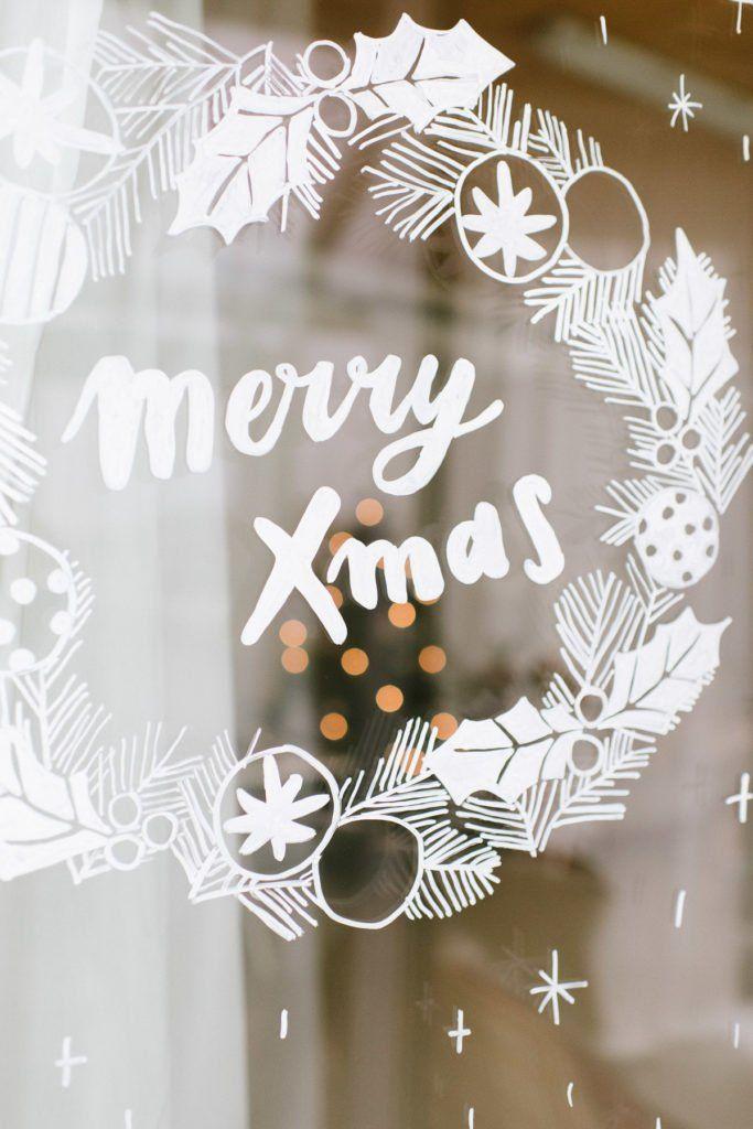 DIY: Weihnachtliches Fensterbild mit Kreidestiften - Fräulein K. Sagt Ja