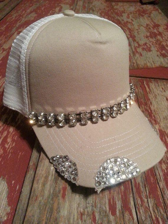 Khaki   White Destructed Rhinestone Chain Bling Trucker Baseball Hat ... 2298424acf37