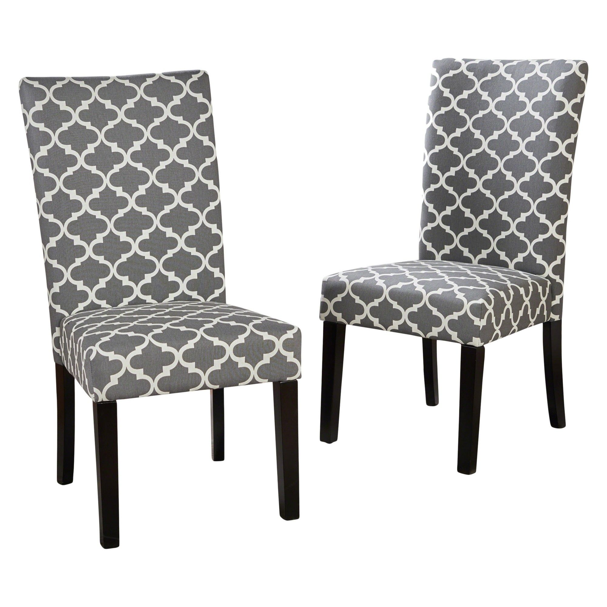 Aurora Fabric Geometric Print Dining Chair Gray Set Of 2 Christopher Knight Home Fabric Dining Chairs Dining Chairs Dining Chair Set