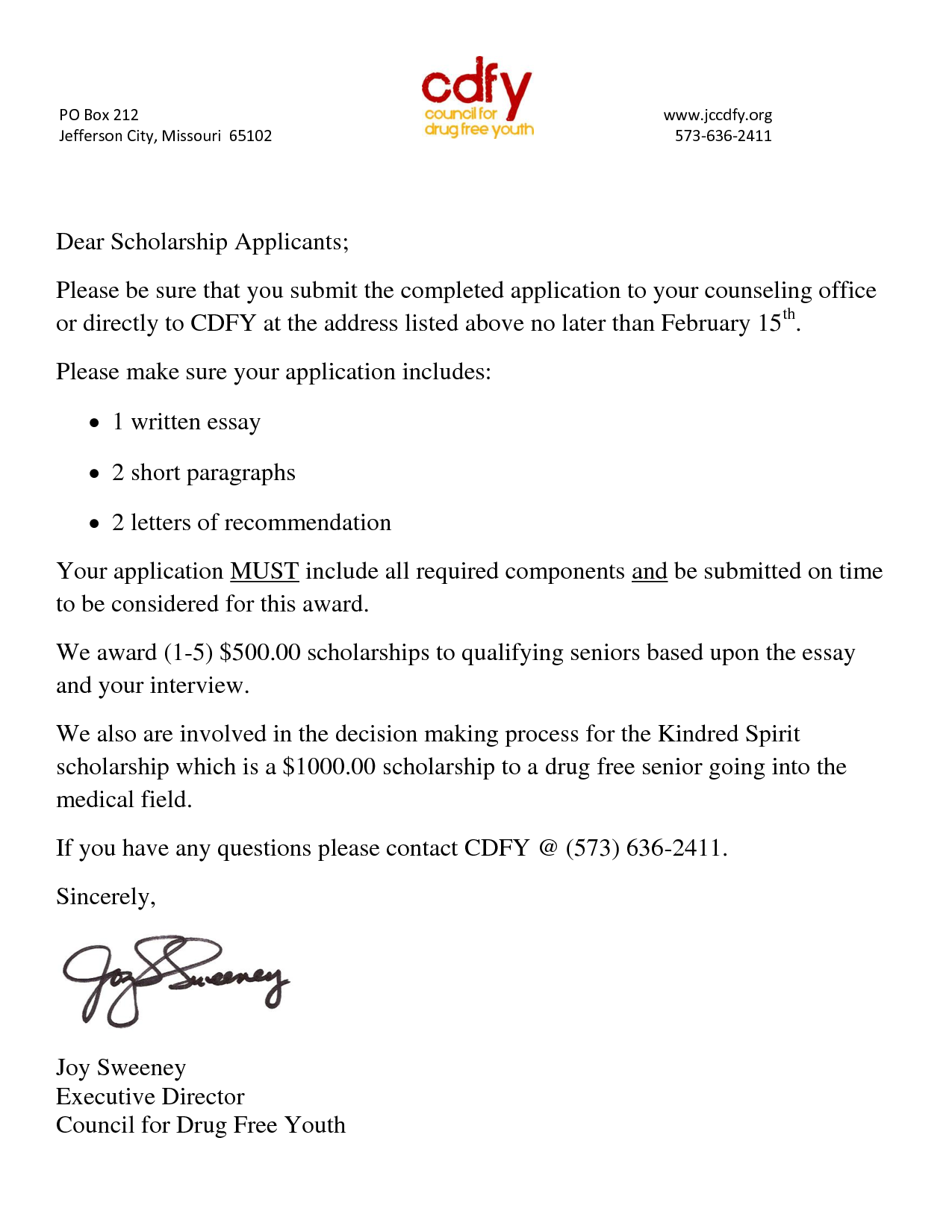 Sample Scholarship Cover Letter Reference page for