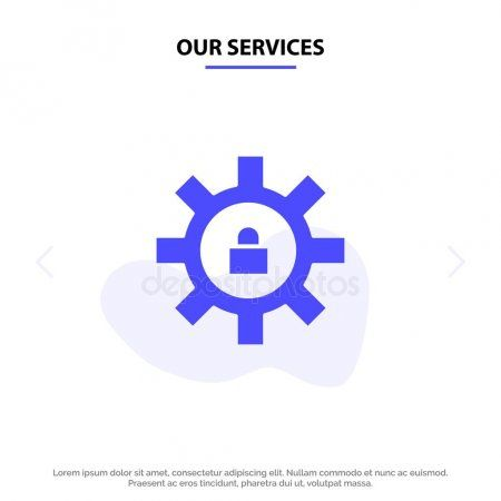 Our Services Gear Setting Lock Support Solid Glyph Icon Web c  Stock